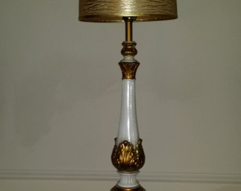 Vintage Hollywood Regency Lamp White and Gold Metal Quartite Neoclassic FREE SHIPPING