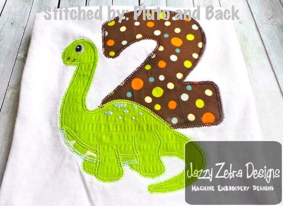 Two Brachiosaurus Appliqué Embroidery Design with Diagonal Square Stitching - Dinosaur Appliqué design - 2nd birthday appliqué design
