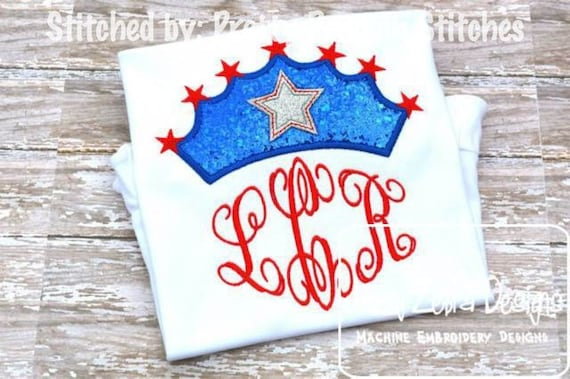 4th of July Crown Appliqué embroidery Design - crown appliqué design - princess appliqué design - queen appliqué design - 4th of july