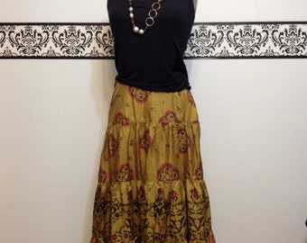 1990's Gold Silk Hipster Boho Skirt by Marshall Fields, Size 4, Vintage Boho Skirt in Gold Yellow with Damask Print, Bell Skirt, Silk Skirt