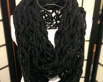 Black Cozy Wool Arm Woven Infinity Scarf