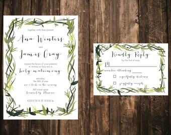 Greenery Wedding Invitation // DOWN PAYMENT towards Printed Sets // Modern Wedding, Spring Wedding, Summer Wedding