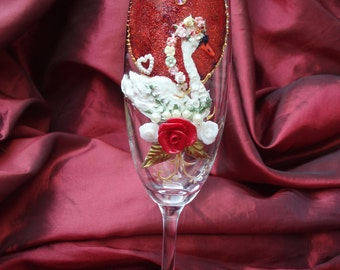 hand painted glass, hand decorated glass, hand painted champagne flute, swan glass, hand painted flute, hand painted champagne glass,