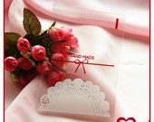 50 pcs Handmade with Lace Print Self-Adhesive plastic party wrapping bag cute decoration wrapping gift cookie packing