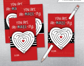 INSTANT DOWNLOAD Valentineu0027s Day Cards. Printable Maze And Pencil Valentine  Cards.