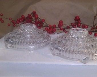 Sweet Vintage Pressed Glass Candle Holders Set/2