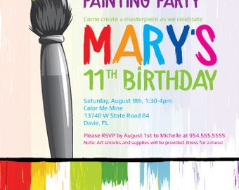 "Painting Party Birthday Invitation - 5"" x 7"""