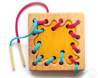 Wooden Lacing Toy, Wooden Patch Toy