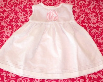 Monogrammed Toddler/Babies White Linen Dress