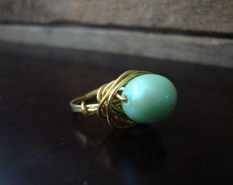 Aqua Pearl & Wire Wrapped Ring