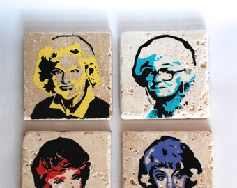 Golden Girls Punk Rock Tile Coaster Set of Four, Blanche, Rose, Dorothy & Sophia