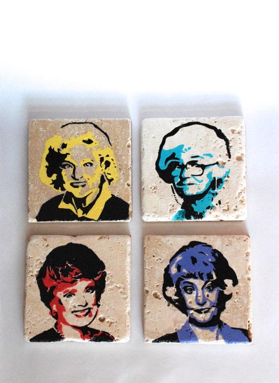 golden girls punk rock tile coaster set of four blanche. Black Bedroom Furniture Sets. Home Design Ideas