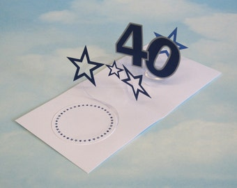 40th Birthday Card Spiral Pop Up 3D - Blue Stars