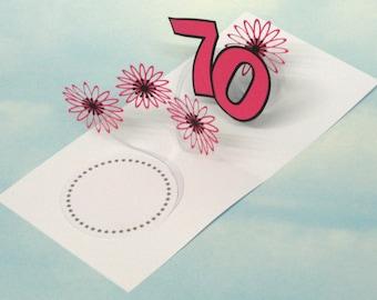 70th Birthday Card Flowers Spiral Pop Up 3D - Pink Flowers – 70th Birthday Spiral Pop Up Card