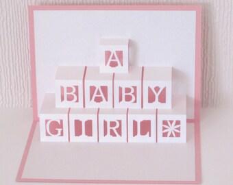 Baby Girl Card Pop Up Bricks 3D - Congratulations New Baby Girl - Welcome New Baby Girl