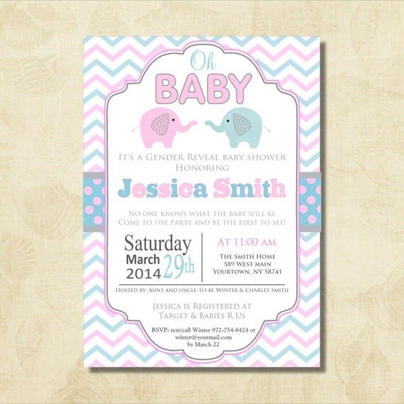 Gianna S Pink And Gray Elephant Nursery Reveal: Oh Baby Elephant Baby Shower Invitation, Chevron