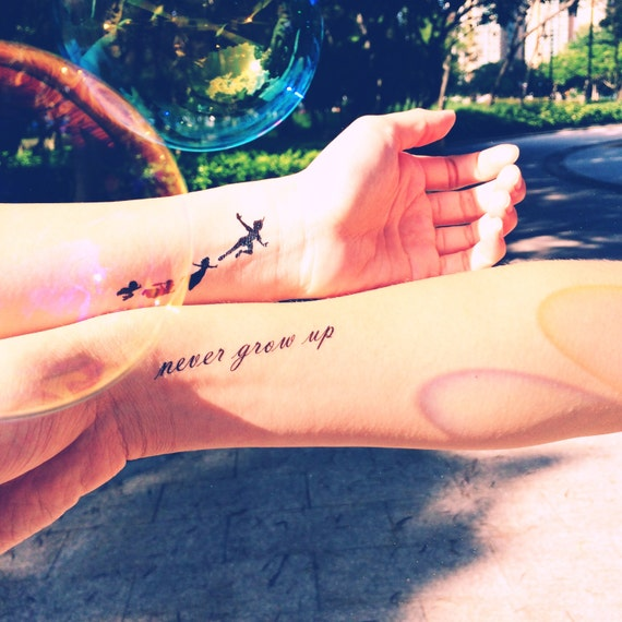 Peter Pan Never Grow Up Quote Tattoo InknArt Temporary By