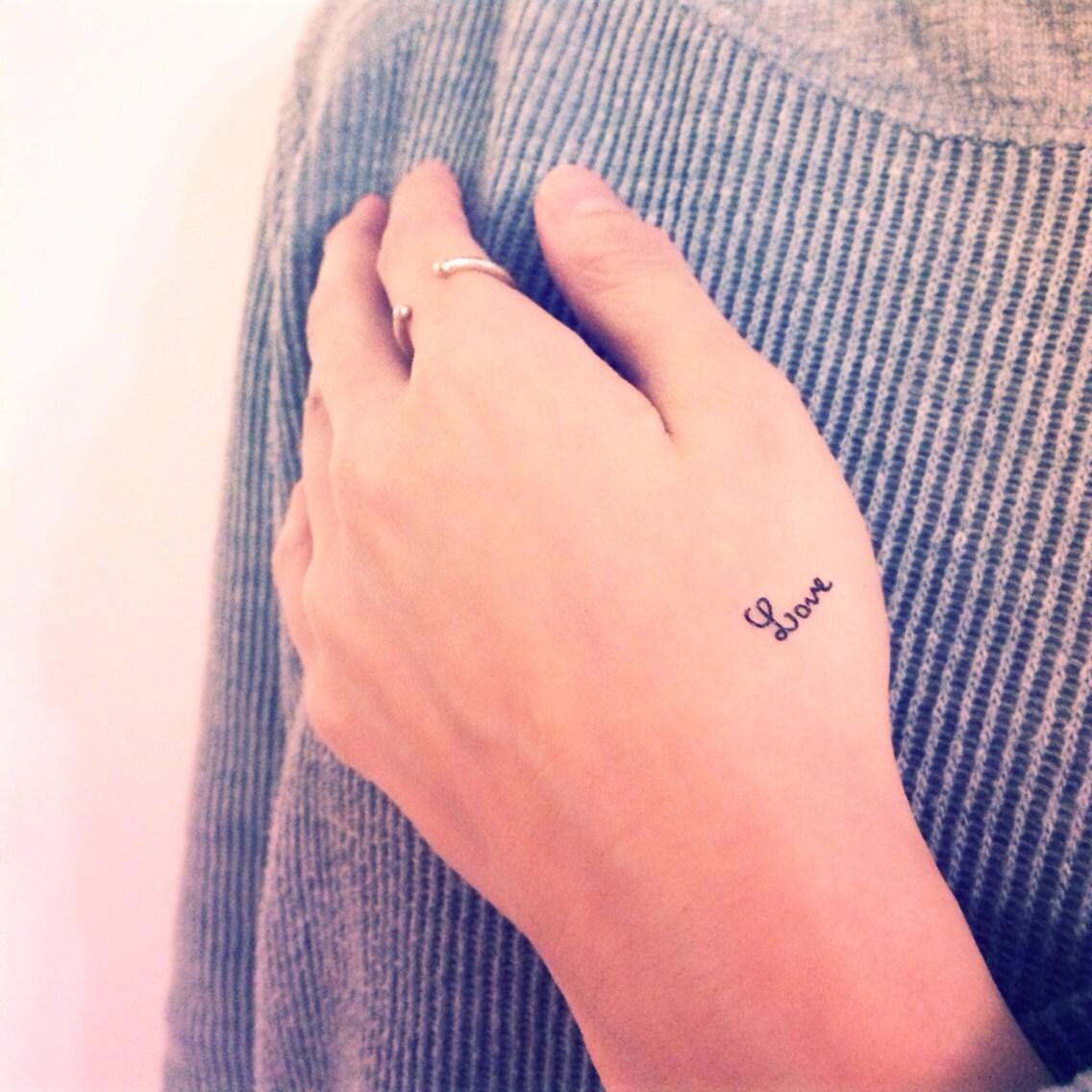 3pcs Tiny delicate LOVE tattoo InknArt Temporary by InknArt