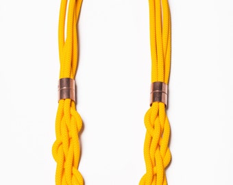rope necklace, macrame necklace, statement necklace, knot necklace, yellow necklace, copper necklace, macrame jewellery, rope jewellery