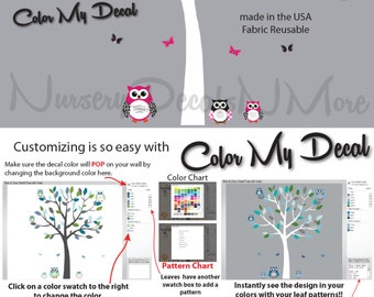 Pink and Black Owl Decals with Tree, Tree Decals, Tree Stickers (Sm Tree, Reg Owl Set Pink Black) SOT