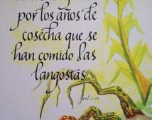 Verso de la Biblia, Espanol, Spanish, Hispanic, Latino, Navajo, Joel 2  25,  8 x 10 inch Print,  Original Watercolor  & Hand Lettering
