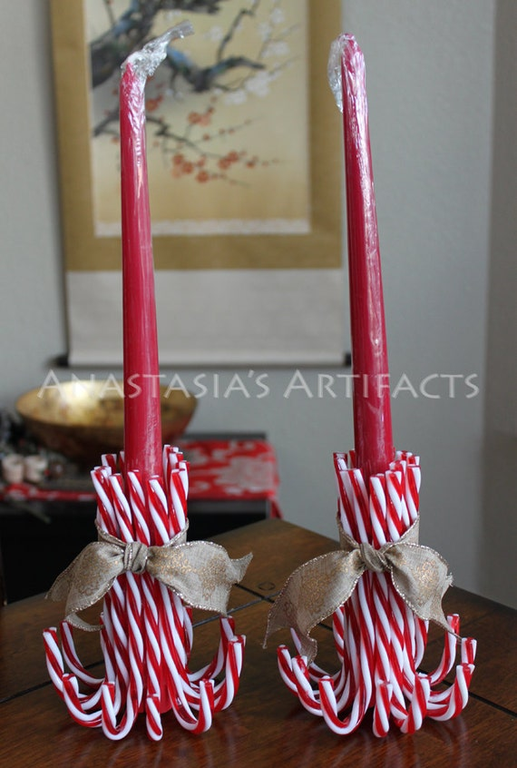 Pair reusable candy cane candle holders choose your ribbon