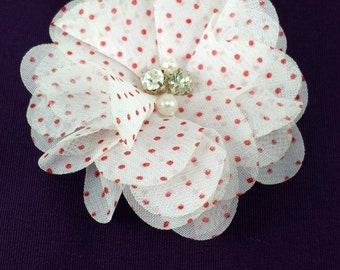 White red polka dot chiffon flower - Christmas fabric flowers - wholesale flowers - ballerina flower - diy supplies