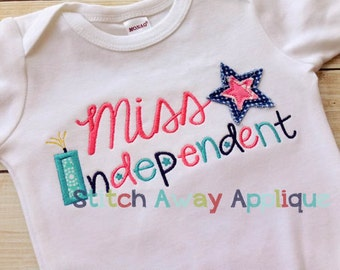 Miss Independent Fourth of July Machine Applique Design