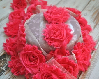 """2.5"""" Hot Pink shabby flower trim - frayed chiffon - rose flowers by the yard - JT Hot Pink"""