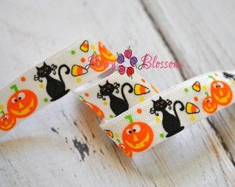 Halloween FOE 1 or 5 yards 5/8 inch stretch elastic - FOE elastics - Halloween Theme Styles - Cats Pumpkins Candy Corn FOE