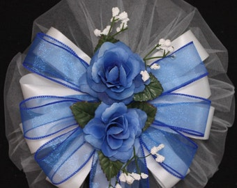Royal Blue Rose Floral Sheer Wedding Pew Bow - Church Pew Decorations, Wedding Aisle Decorations, Wedding Ceremony Bow, Wedding Chair Bows