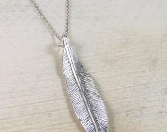 Leaf necklace, silver leaf necklace, matte silver leaf necklace, minimalist necklace, long leaf necklace, everyday necklace, trendy necklace