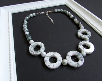 Tree & Moss Agate Donut and Bead Necklace