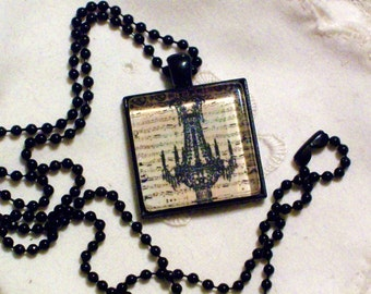 Victorian Steampunk Chandelier Necklace - Black Pendant Setting and Ball Chain - 25mm Square Glass Cabochon
