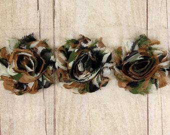 "Shabby Trim -  ""Camo Brown / Black"" Shabby Chiffon Flower shabby chiffon flower trim, shabby chiffon rose trim, shabby rosette trim"