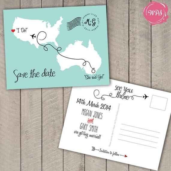 destination wedding save the date postcard travel theme custom