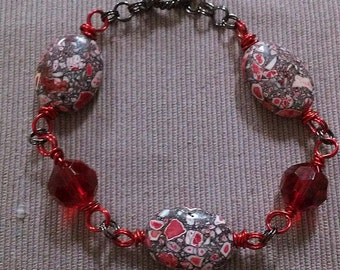 red mosaic anklet or bracelet: hand wrapped glass & magnesite mosaic beads, colored copper wire