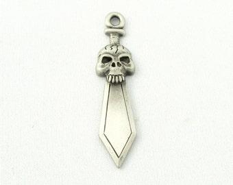 Straight Skull Sword  Pewter Pendant Charm (5pcs) (SKU#PSK0005)