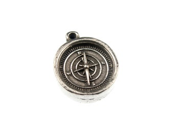 Small Compass Charm, 6 Silver Compass Charms - See Photos For Other Finish Options