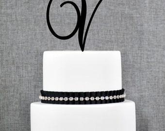 Letter V - Initial Cake Topper, Monogram Wedding Cake Topper, Custom Cake Topper