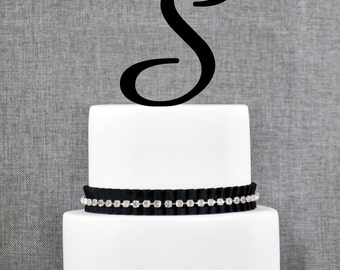 Letter S Single Monogram Cake Topper – Custom Wedding Cake Topper in Your Choice of 56 Typefaces