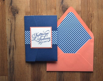 Nice Nautical Inspired Striped Wedding Invitation, Coral, Light Blue U0026 Navy  Wedding Invite, Calligraphy