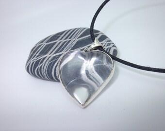 Quartz Crystal Heart Pendant Necklace Sterling Silver Handmade Brazilian Quartz Crystal
