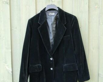 Woman's Classic Velvet Black Blazer Dark Jacket Medium to Large