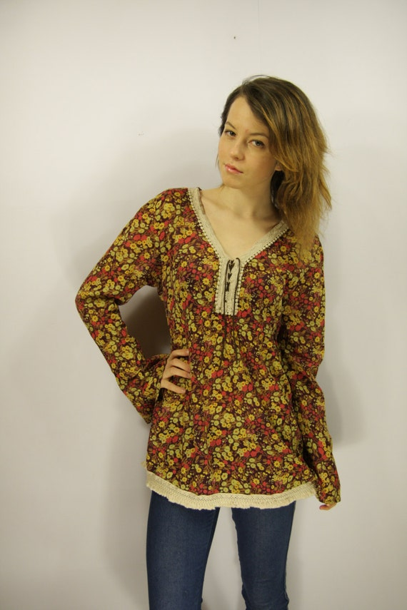 New Dark Brown Womens Blouse - Lace Henley Blouse