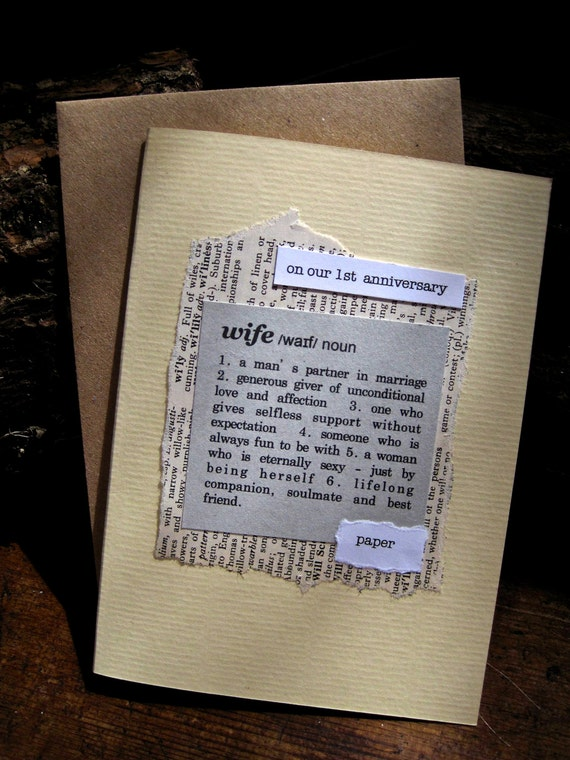 1st anniversary card wife husband paper dictionary style for 1st anniversary paper ideas