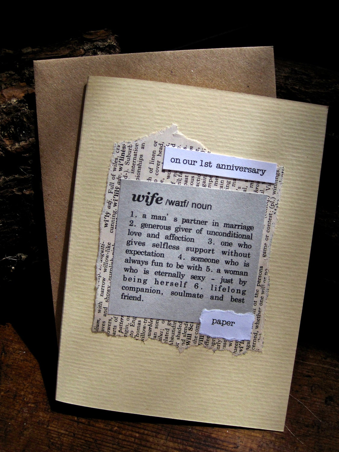 1st anniversary card wife husband paper dictionary style for Paper gift ideas for anniversary