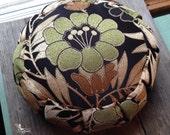 Custom order for Robyn Meditation cushion zafu with handle - Green flower - organic buckwheat hulls meditation pillow zafu