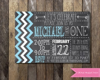 PRINTABLE Chalkboard Chevron First Birthday Invitation - 1st Birthday Invitation -  Girls Boys Birthday Party 4x6 or 5x7