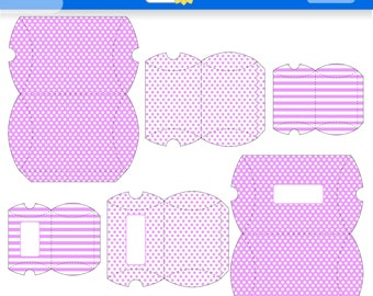 Pink Printable Gift Boxes for instant Download. PDF.  Polka Dots and Stripes Favor Box. Pillow Box. Purple